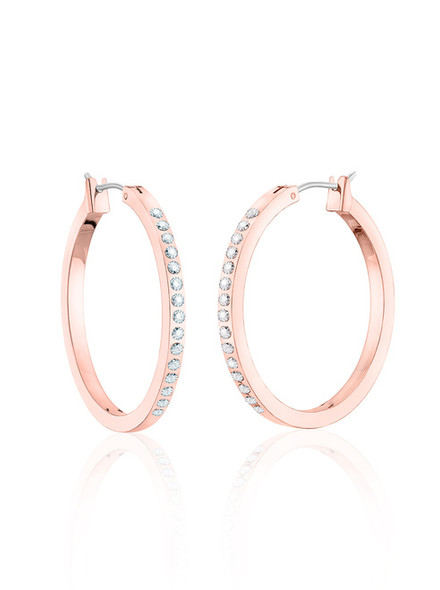 Outside Hoop  Earrings made with Swarovski elements - Rose Gold