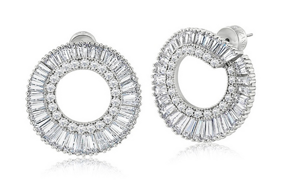 Baguette Earrings Made with Swarovski Elements in Rhodium overlay