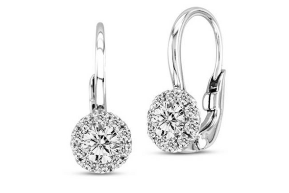 Halo Earrings - Euro Wire  Made with Swarovski Elements in Rhodium overlay