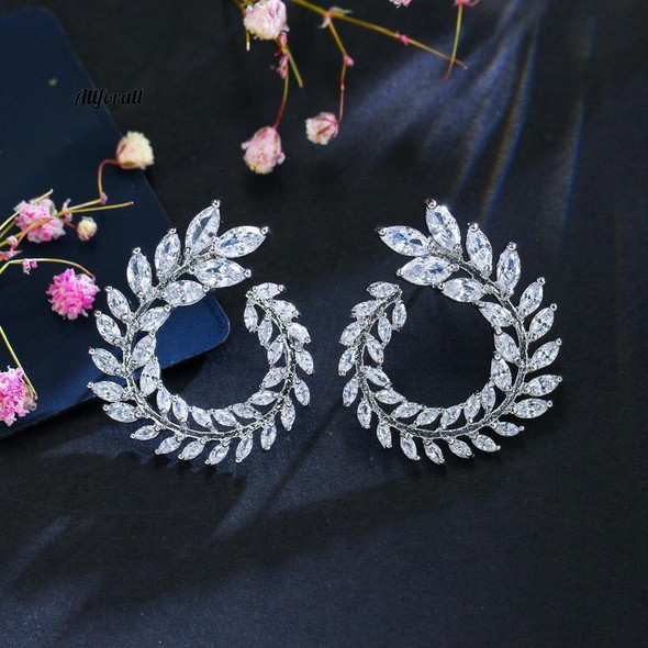 Leaf Design Earrings Made with Swarovski Elements in Rhodium overlay