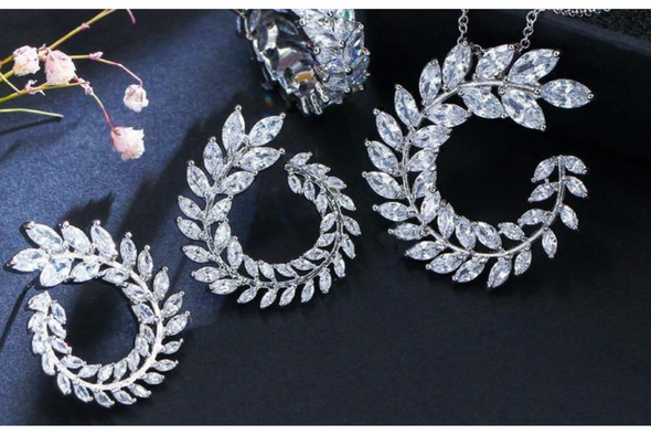 Leaf Design Necklace & Earring Set Made with Swarovski Elements in Rhodium overlay