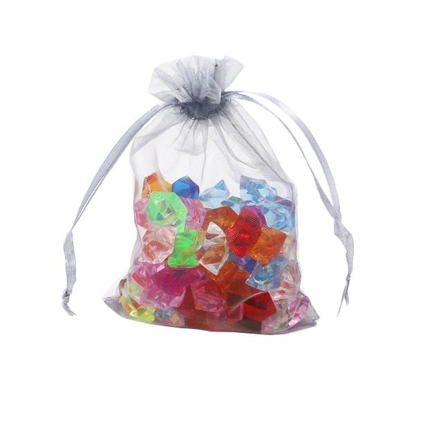 "100 pcs Organza Gift Bag Jewelry Pouch silver ""3.5"" H x  ""2 .75 ""L"