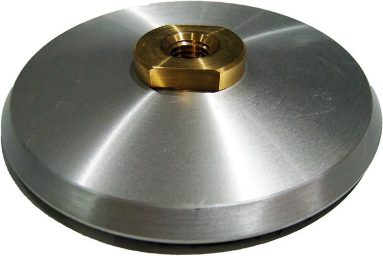 Aluminum backing disc for handheld grinding and polishing.