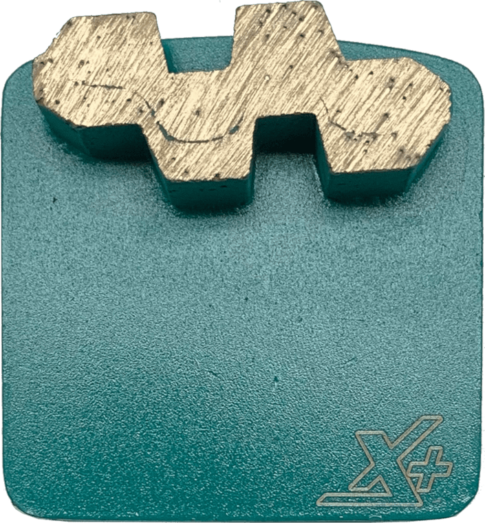Diamond metal for concrete surface preparation, grinding, and polishing. Single segment 16 grit. Super Soft or Extra Output Bond.