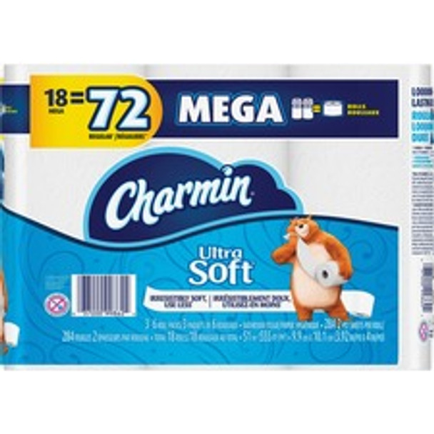Charmin Ultra Soft Bathroom Tissue - Mega Roll - 2 Ply - 284 Sheets/Roll - White - Soft, Strong, Absorbent, Comfortable - For Bathroom - 5112 / Carton