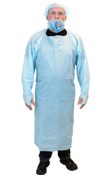 The Safety Zone ® Blue Cast Polyethylene Coat Apron (100/CS)