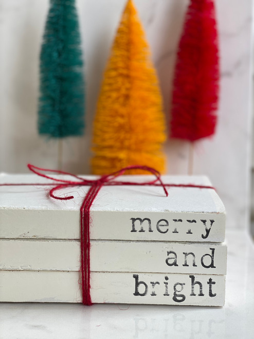 Merry and Bright Book Stack