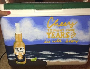 summer time custom painted beach cooler