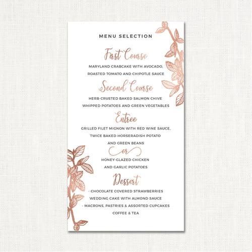 Andreea Wedding Menu wholesale affiliate program wedding planner leslie store