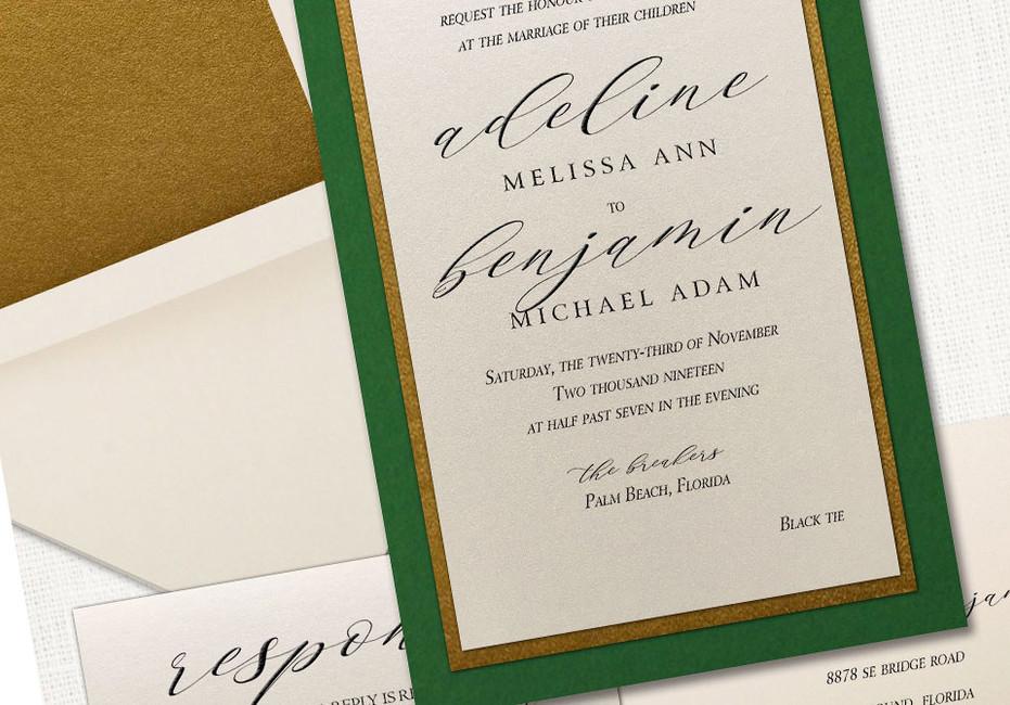 Elegant Wedding Invitation with gold green layer   Leslie