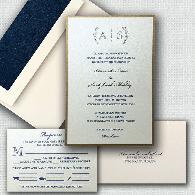 Elegant monogram wedding invitation with a blue and gold thermography ink combination