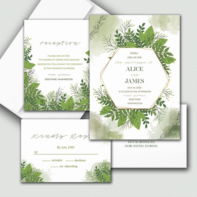 Custom watercolor wedding invitations with a mix of fonts to create a simple and classic feel.