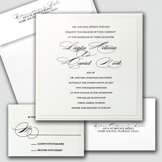 Layla Script Wedding Invitations elegant wholesale card