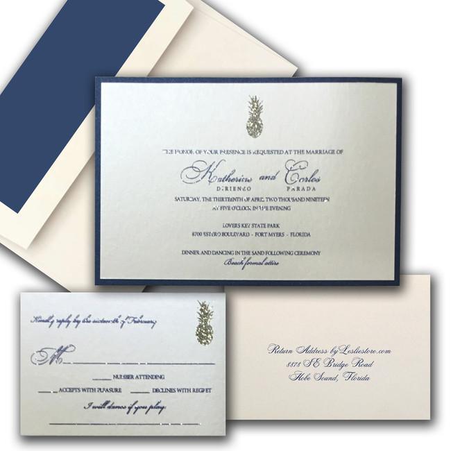 Classic Pineapple Wedding Invitation / blue and gold Design