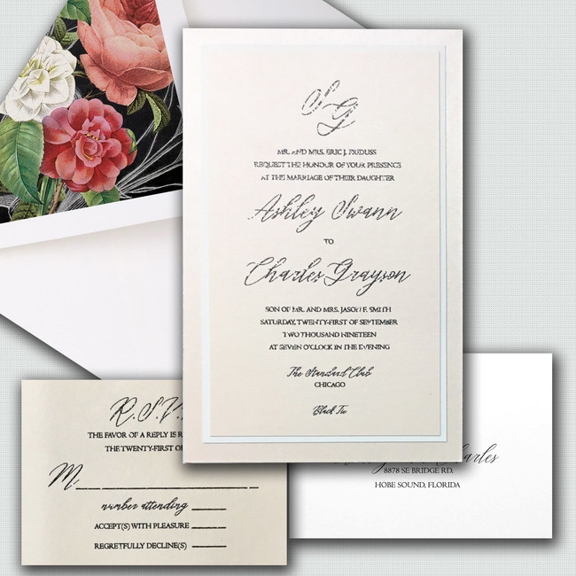 Wedding invitation Monogram elegant wholesale invitations