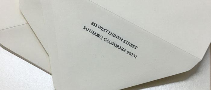 envelopes return address printing