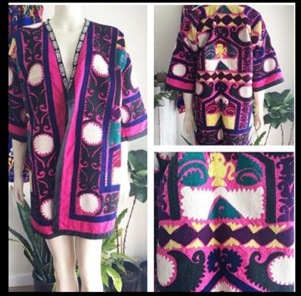 Silk on Silk Pink Suzani Coat