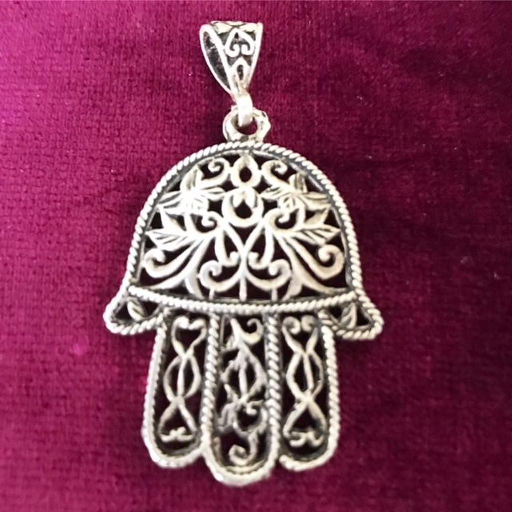 Antique Silver Large Filigree Hamsa Hand