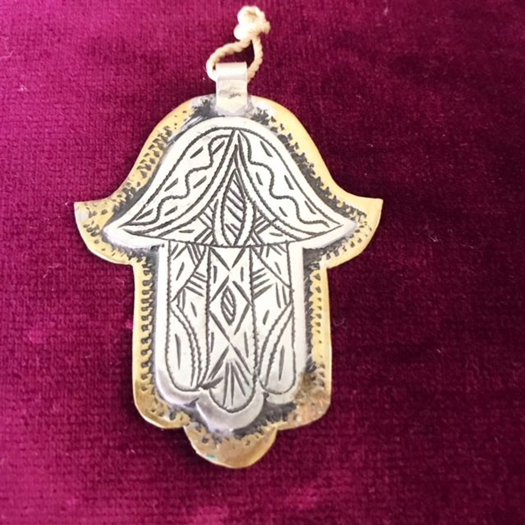 Antique Silver and Brass Hamsa Hand