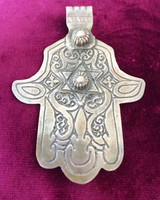 Antique Solid Silver XL Star Hamsa Hand