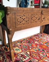 Hand Carved Antique Teak Indian Slim Line Console Table