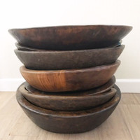 Vintage Hand Turned Indian Parat Bowls