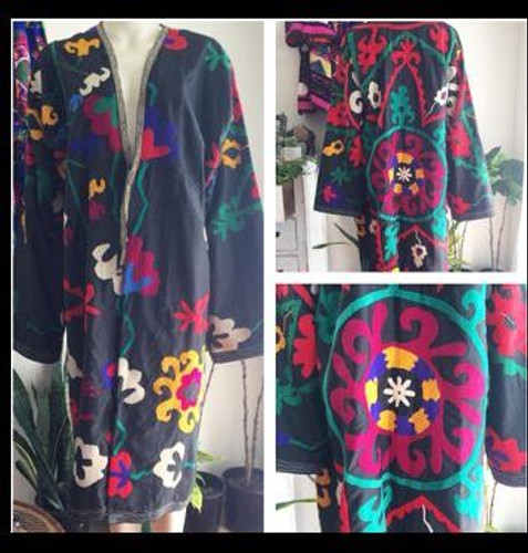 Black Cotton Suzani Coat Silk Medallion Embroidery