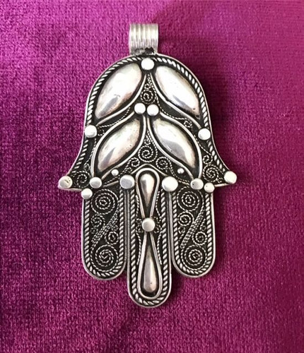 Antique Solid Silver Hamsa Hand 2