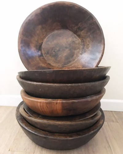 Vintage Hand Turned Indian Parat Bowls