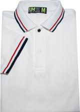 white men's grey polo shirt