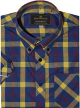 Mod shirt | button down yellow & blue check shirt