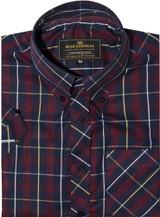 Mod shirt | button down maroon check shirt for men
