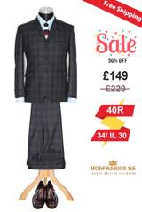 Van Morrison 1960s slim fit charcoal tailor suit, Size 40R Jacket, 34/IL30