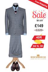 Frank Ifield mohair light grey 3 button men's suit, Size 40R Jacket, 34/IL30