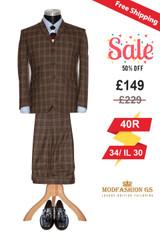 Eric Clapton slim fit 3 button classic brown mohair suit, Size 40R Jacket, 34/IL30