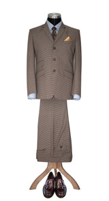 Mod suit I Denis Payton 3 button tweed brown dogtooth suit