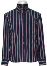 Mod shirt I 60's style high collar men's navy-blue stripe shirt