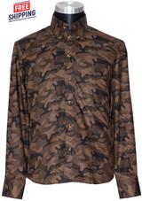 Camo shirt I tailored slim fit long sleeve brown camo shirt