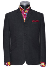 Charcoal flannel wool winter blazer