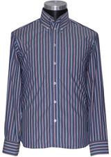 High collar striped shirt