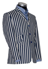 navy blue striped boating blazer
