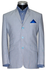 Summer suit   100% Cotton sky blue striped 3 button suit