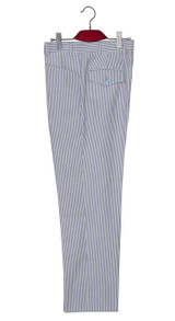 1960s mod style sky blue striped summer trouser