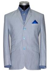 Summer Blazer | Original cotton sky blue striped blazer tailored