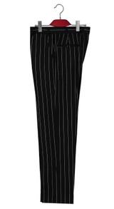Pinstripe trouser | Classic white striped in black mod trouser
