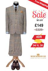 Ian McLagan 1960's 3 button light brown suit for men, Size 40R Jacket, 34/IL 30