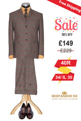 Tailored 60's fashion Tweed brown dogtooth check suit, Size 40R Jacket, 34/ IL 31