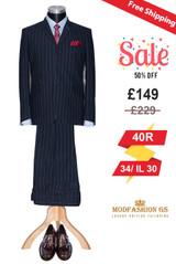 Flannel wool blue stripe in navy-blue mod suit, Size 40R Jacket, 34/IL 30