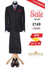 Flannel wool charcoal mod suit for men, Size 40R Jacket, 34/IL 30