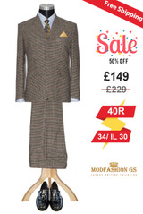 Michael Gambon classic brown dogtooth suit,  Size 40R Jacket, 34/IL 30